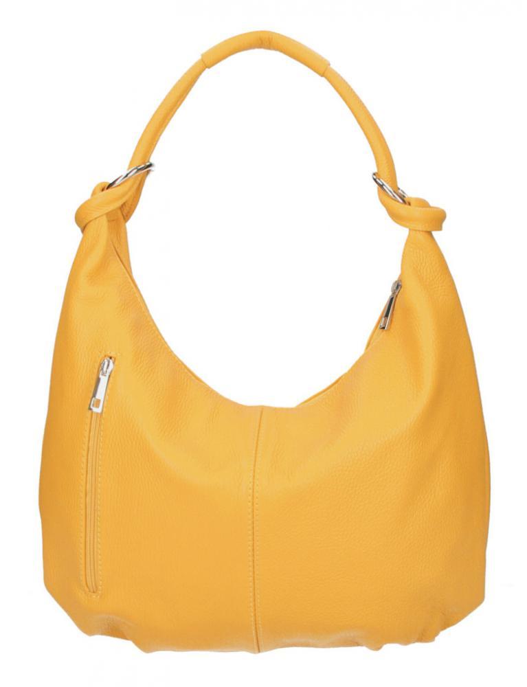 Kožená dámska kabelka cez plece Reba banánová žltá