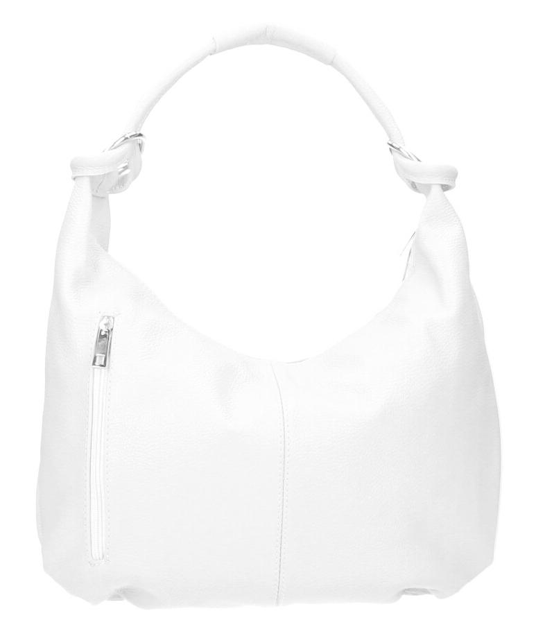 Kožená dámska kabelka cez plece Reba biela