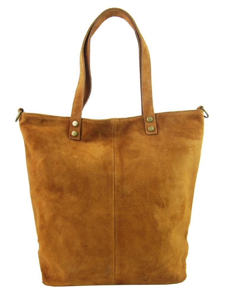 Kožená veľká hnedá brúsená praktická dámska kabelka
