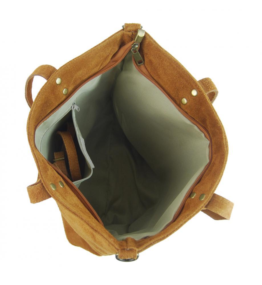 Kožená velká černá broušená praktická dámská kabelka