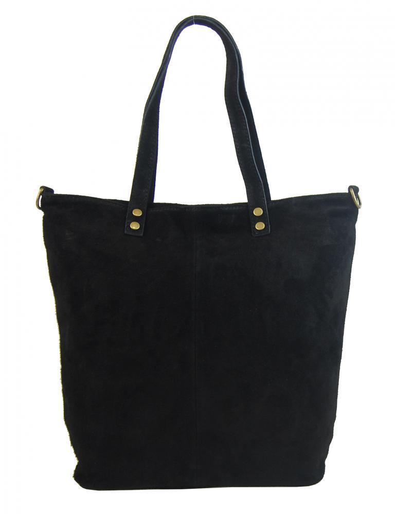BORSA IN PELLE Kožená černá dámská praktická kabelka Alena