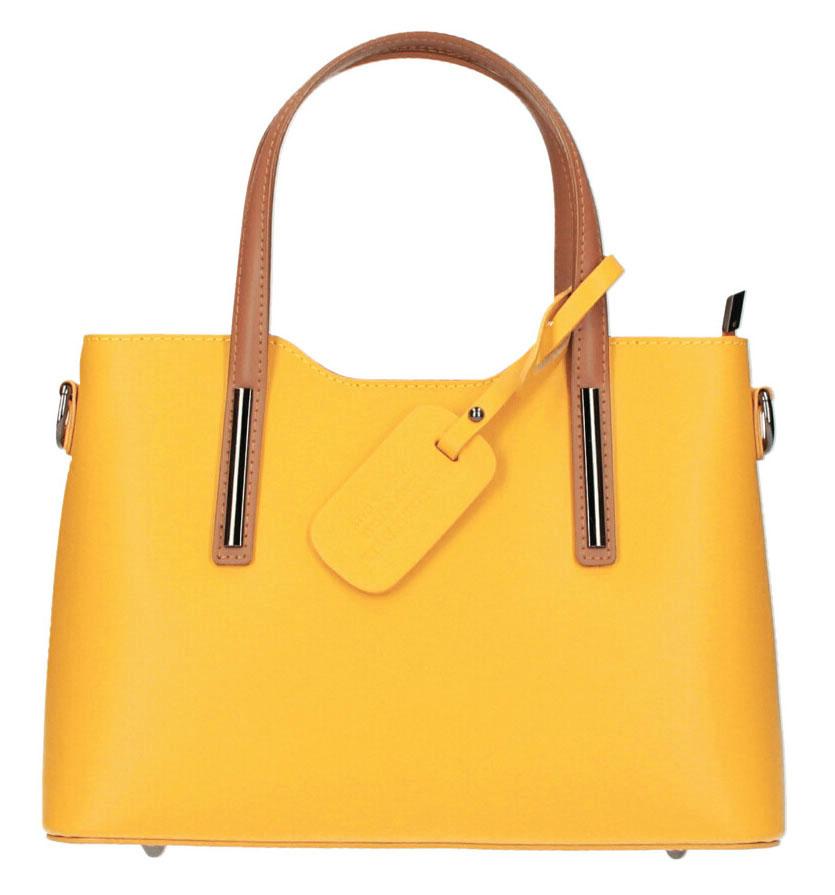 Kožená banánovo žltá dámska kabelka do ruky Maila
