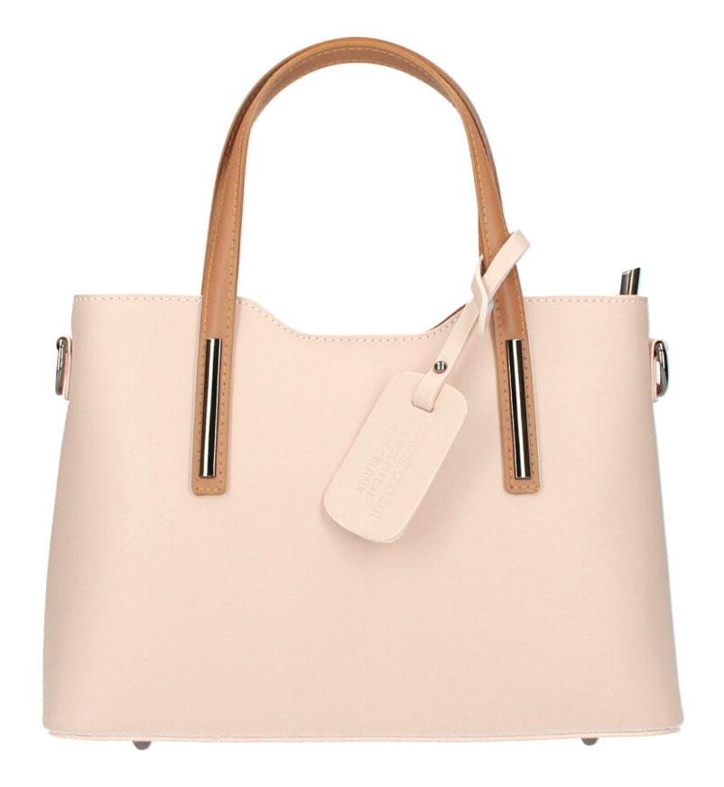 Kožená svetlá púdrová dámska kabelka do ruky Maila
