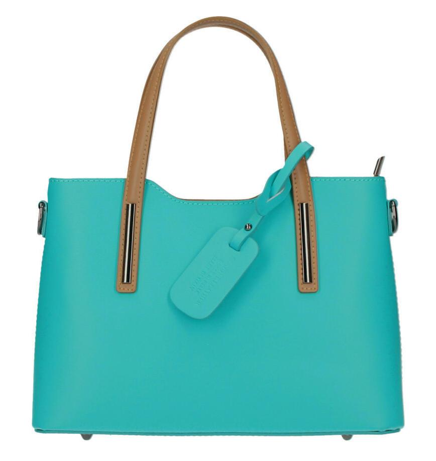 Kožená tyrkysová dámska kabelka do ruky Maila