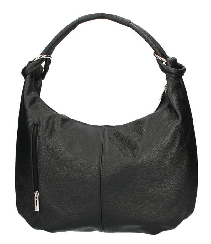 Kožená dámska kabelka cez plece Reba čierna