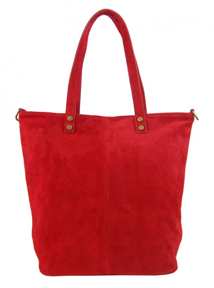 Kožená veľká červená brúsená praktická dámska kabelka