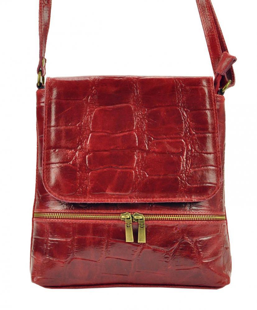Kožená dámska crossbody kabelka v kroko dizajne červená