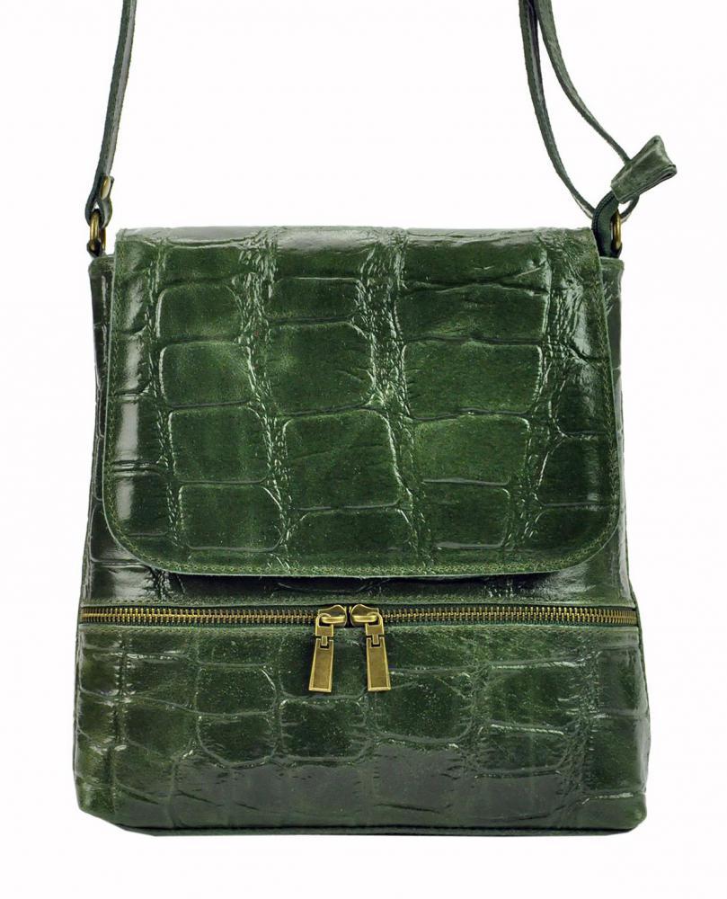 PELLE Kožená dámská crossbody kabelka v kroko designu zelená