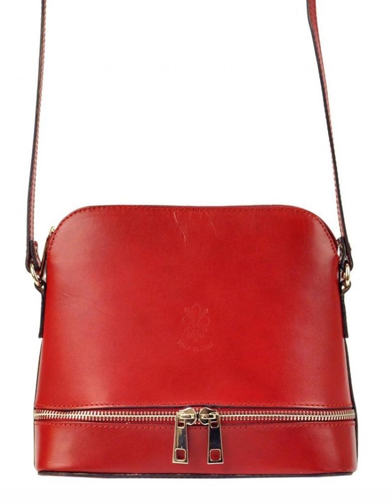 Kožená červená malá dámska crossbody kabelka Florence