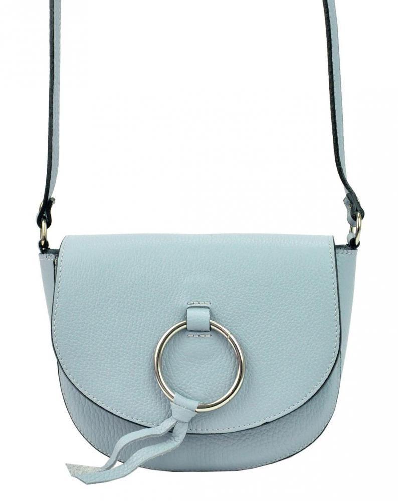 Kožená svetlo modrá malá dámska crossbody kabelka Patrizia Piu Dollaro