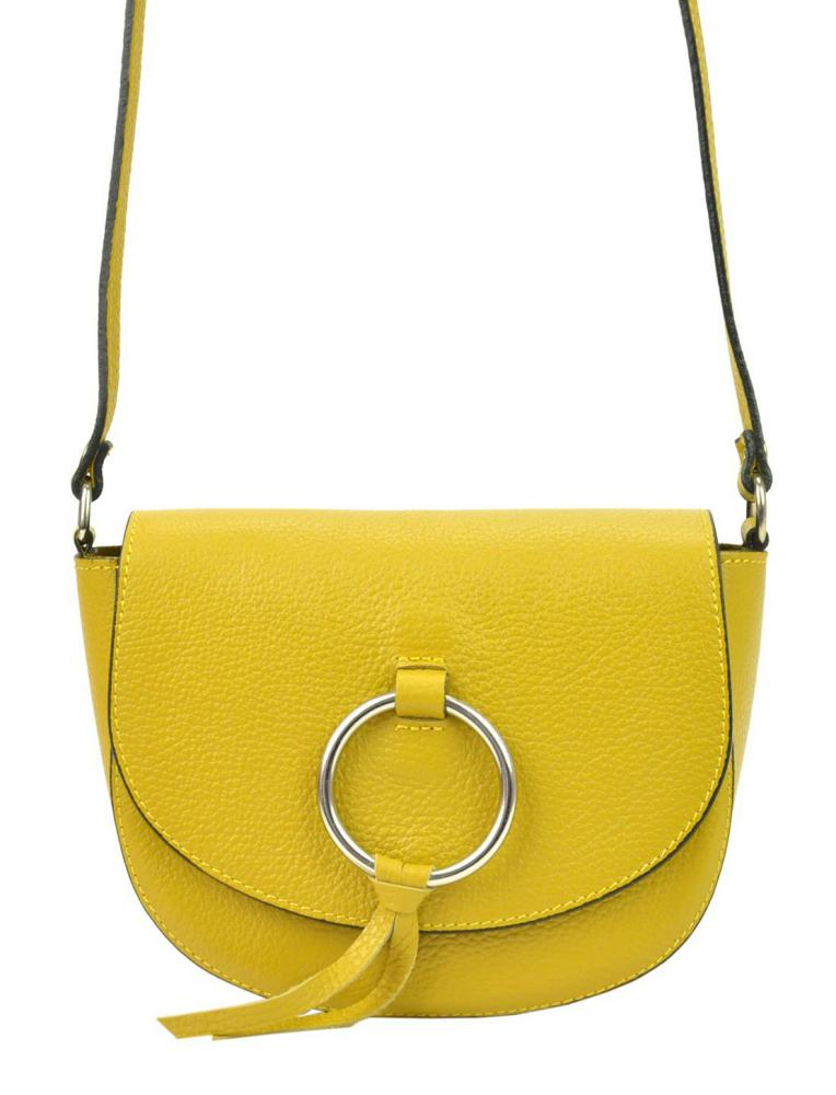 Kožená žltá malá dámska crossbody kabelka Patrizia Piu Dollaro