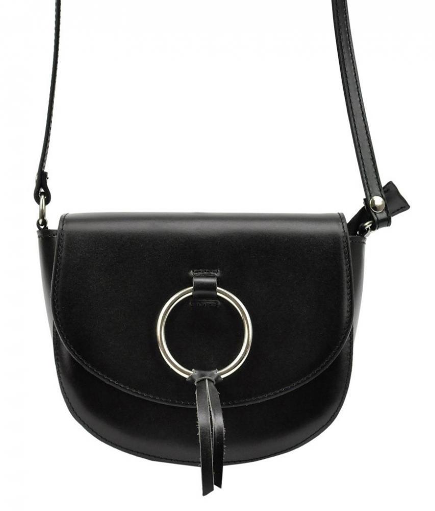 Kožená černá malá dámská crossbody kabelka Patrizia Piu