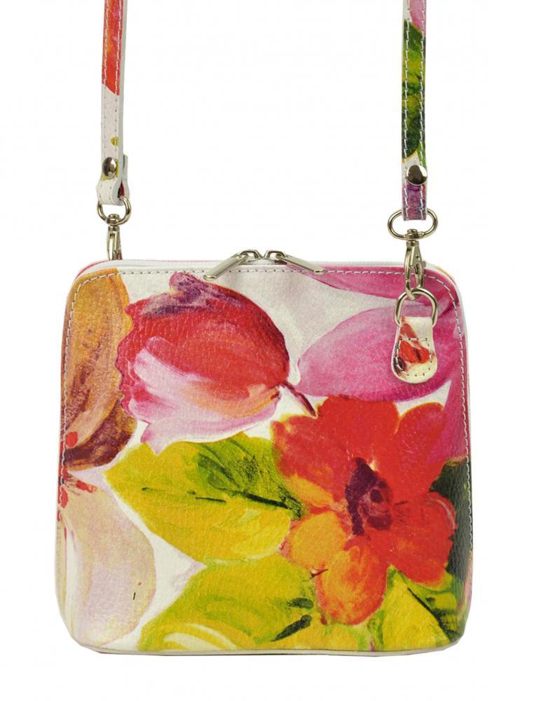 Kožená malá dámska crossbody kabelka s motívom kvetov ružová