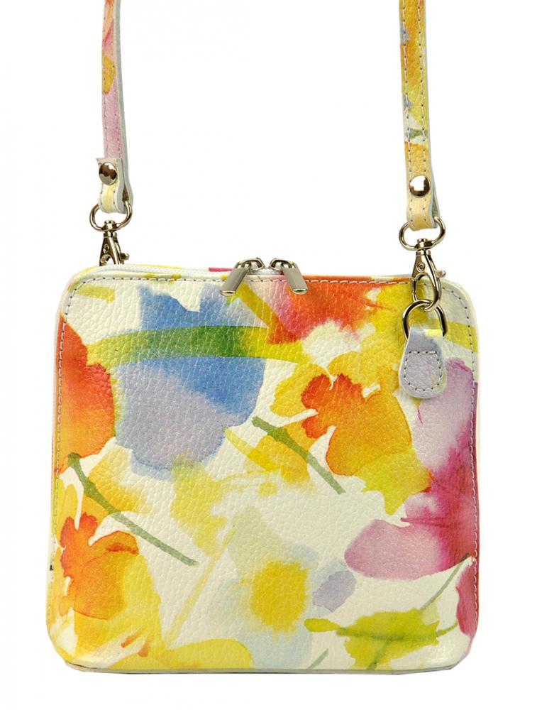 Kožená malá dámská crossbody kabelka s motivem květů žlutá