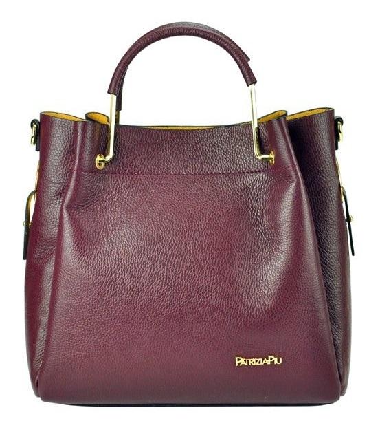 Vínová kožená dámská shopper kabelka