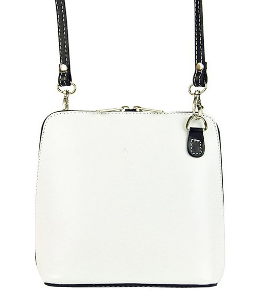 Kožená malá dámská crossbody kabelka bílo-černá