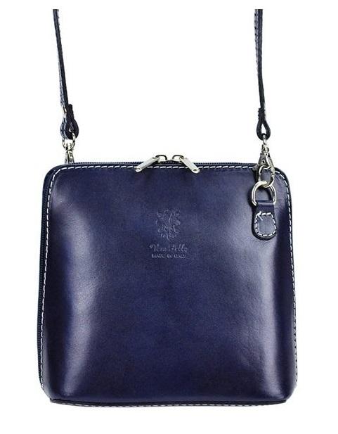 Vera Pelle Kožená malá dámská crossbody kabelka tmavá modrá