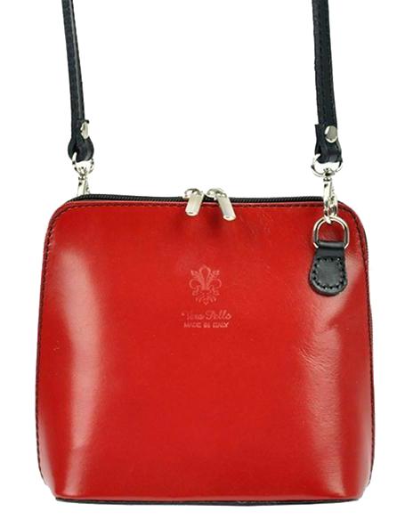 Kožená malá dámska crossbody kabelka červená s čiernym pásikom