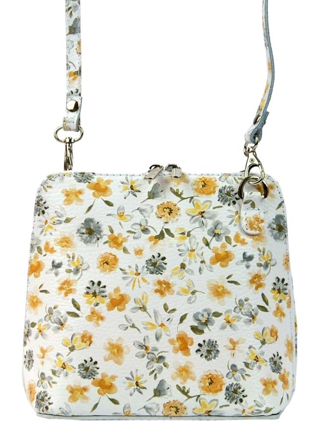 Kožená malá dámská crossbody kabelka v květovaném motivu bílá