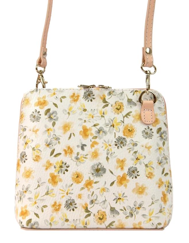 Kožená malá dámska crossbody kabelka v kvetovanom motíve ružová