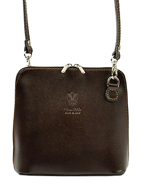 Kožená malá dámska crossbody kabelka tmavo hnedá