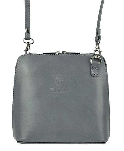 Kožená malá dámska crossbody kabelka tmavo šedá