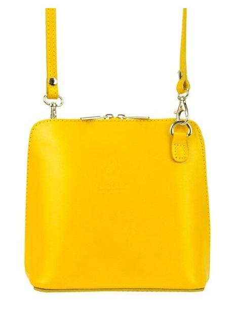 Kožená malá dámska crossbody kabelka žltá