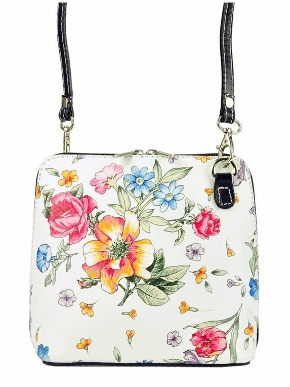 Kožená malá dámska crossbody kabelka s motívom kvetov čierna