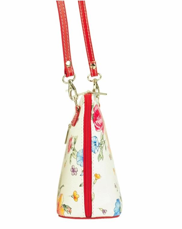 Kožená malá dámská crossbody kabelka s motivem květů bílá