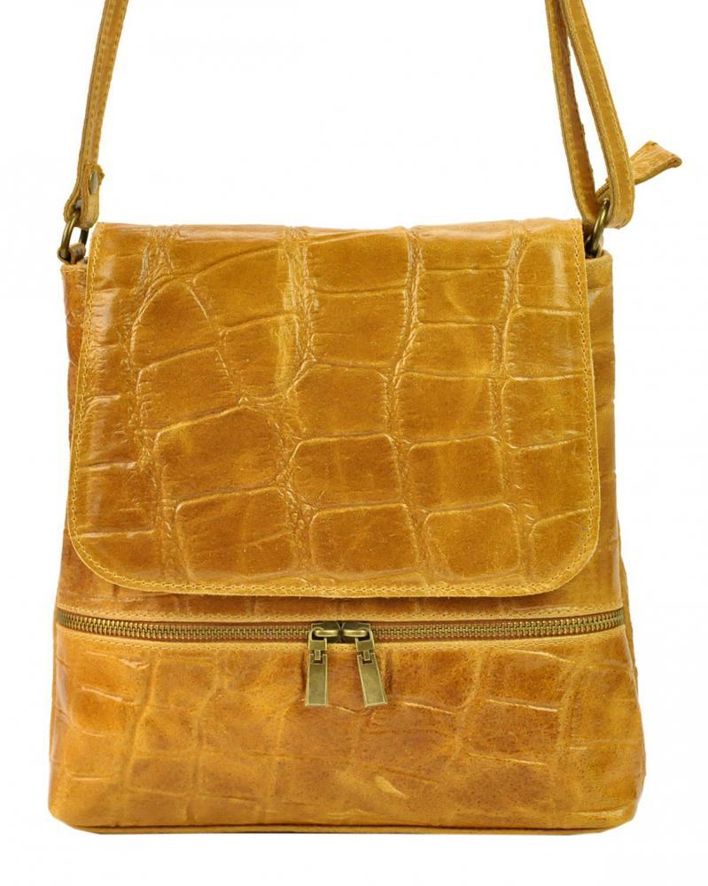 PELLE Kožená dámská crossbody kabelka v kroko designu Camel hnědá