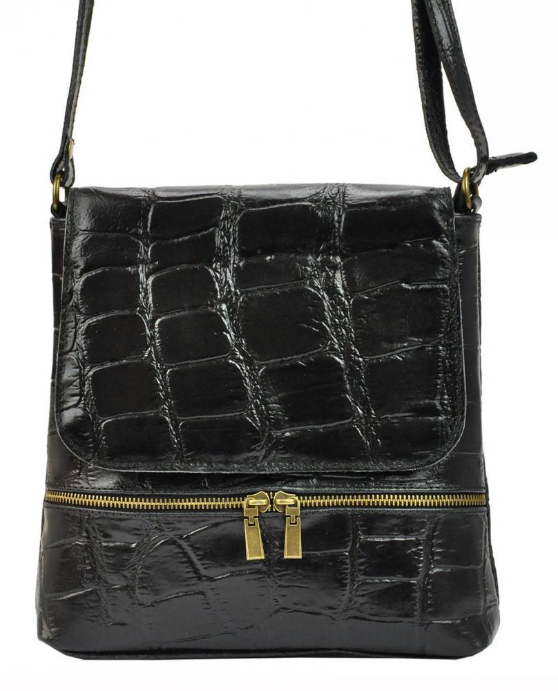PELLE Kožená dámská crossbody kabelka v kroko designu černá