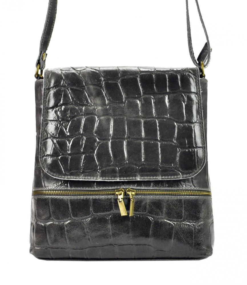 PELLE Kožená dámská crossbody kabelka v kroko designu tmavě šedá