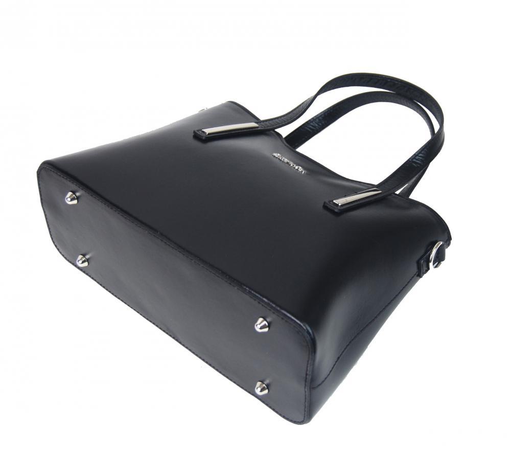 Černá kožená dámská kabelka do ruky Patrizia Piu