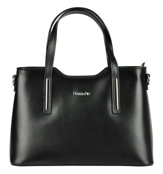 Čierna kožená dámska kabelka do ruky Patrizia Piu