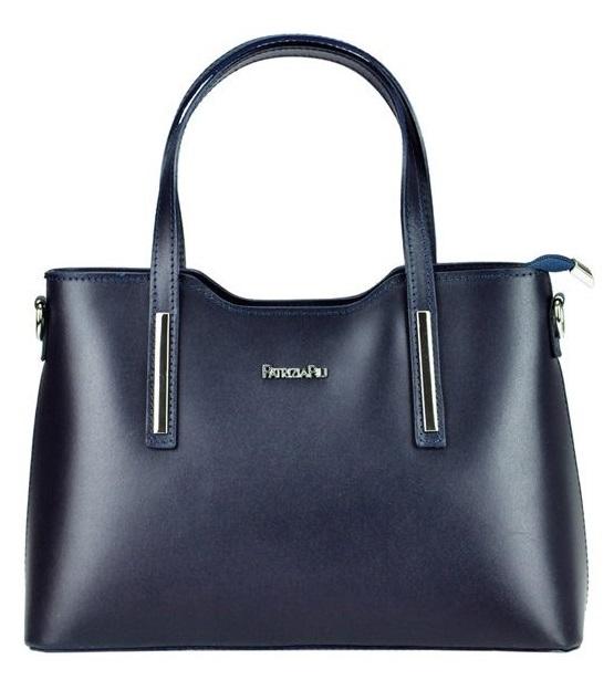 Modrá kožená dámska kabelka do ruky Patrizia Piu