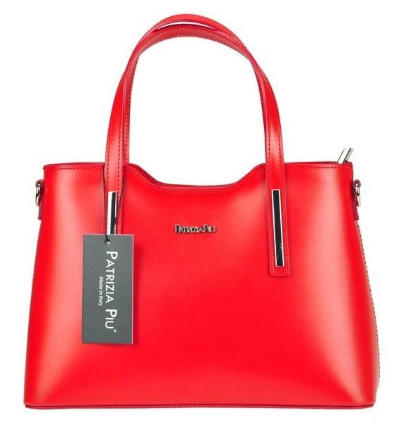 Červená kožená dámska kabelka do ruky Patrizia Piu