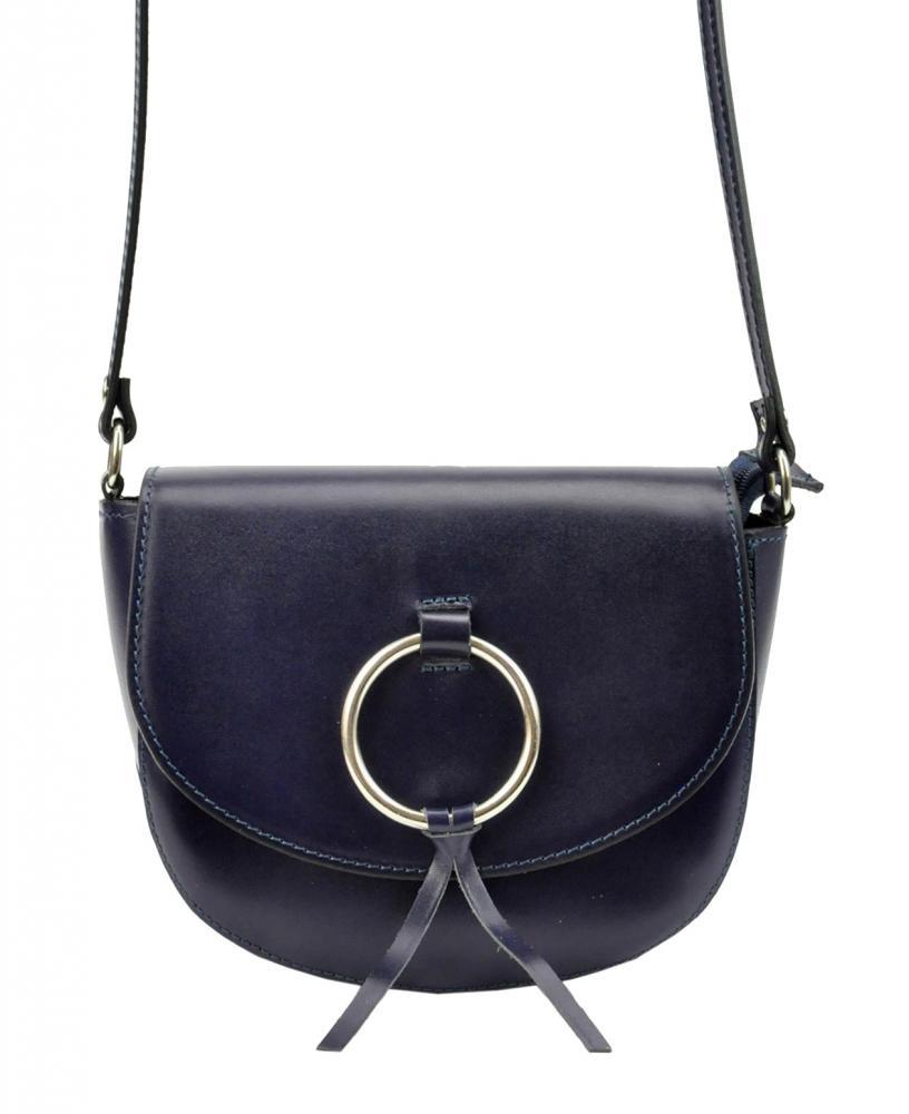 Kožená tmavě modrá malá dámská crossbody kabelka Patrizia Piu