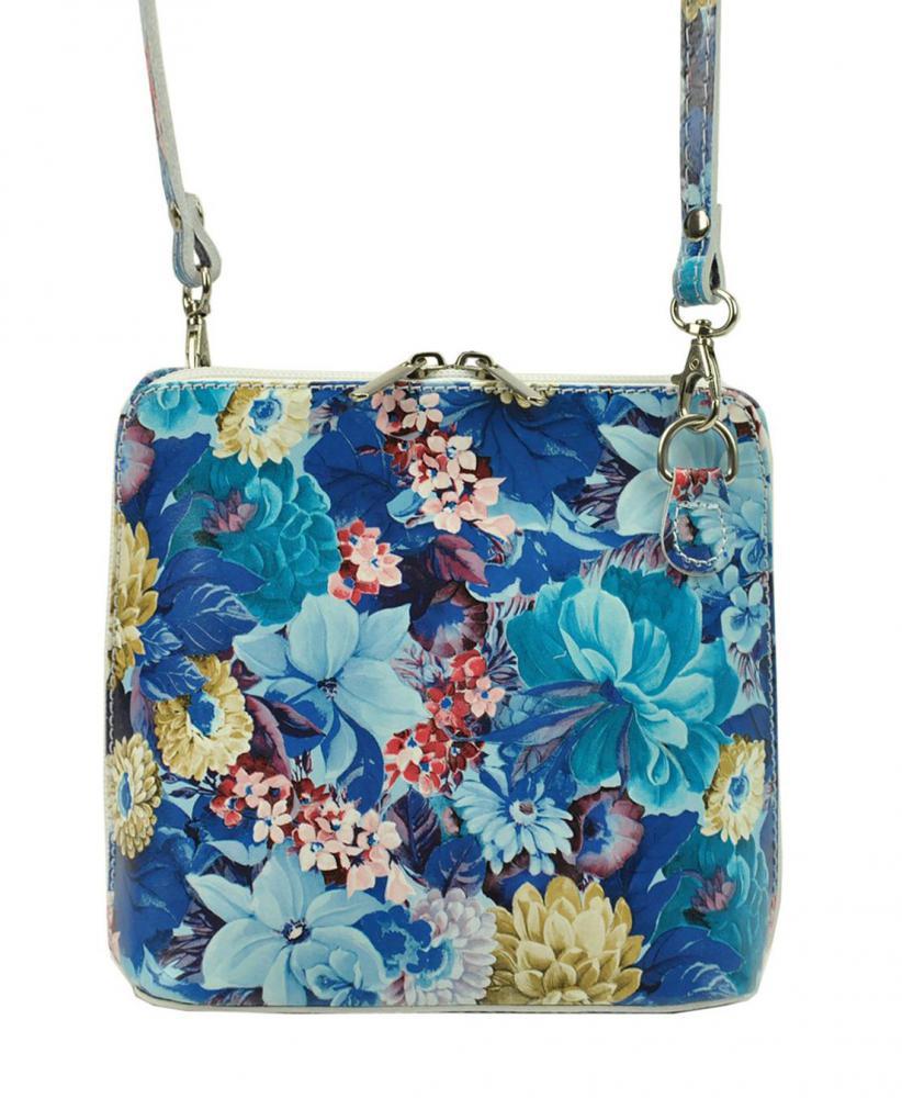 Vera Pelle Kožená malá dámská crossbody kabelka s motivem květů modrá