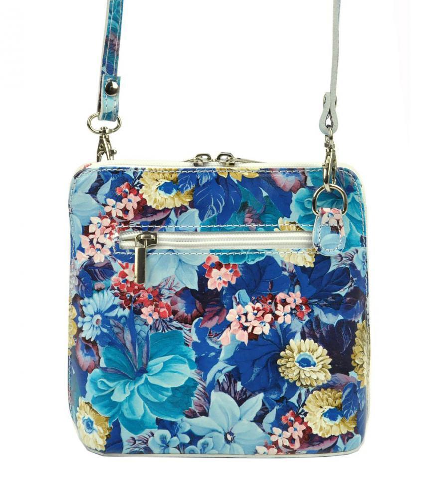 Kožená malá dámska crossbody kabelka s motívom kvetov bielo-červená