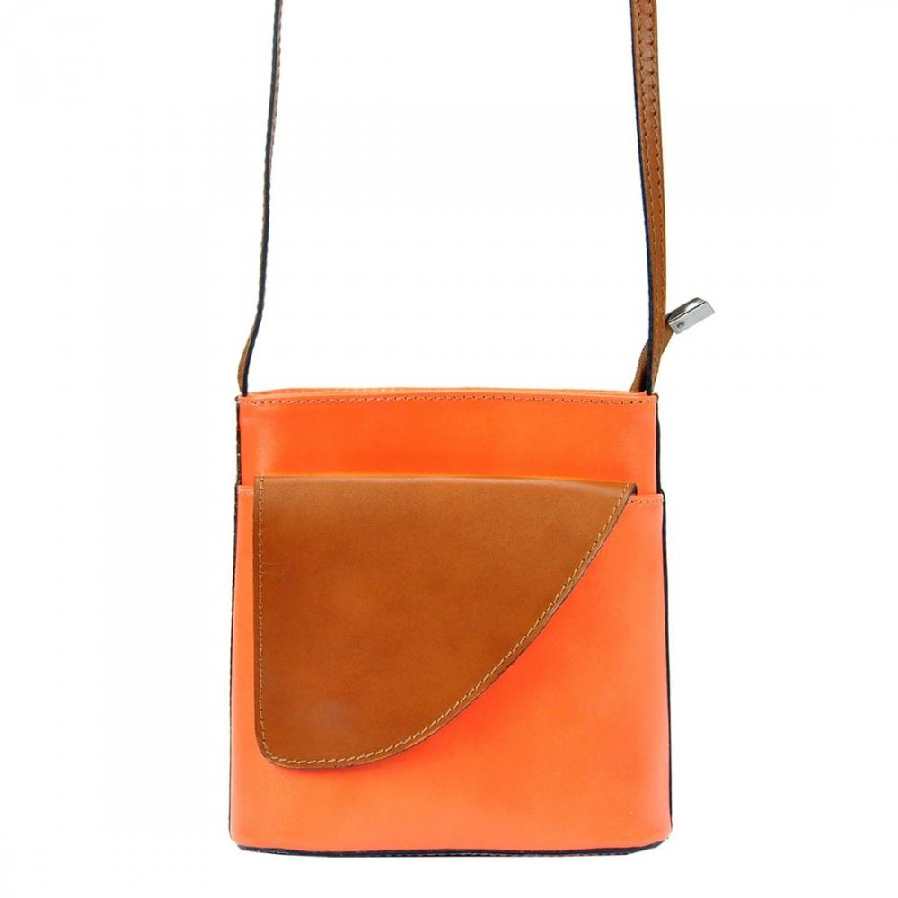 Kožená malá dámska crossbody kabelka oranžová-hnedá