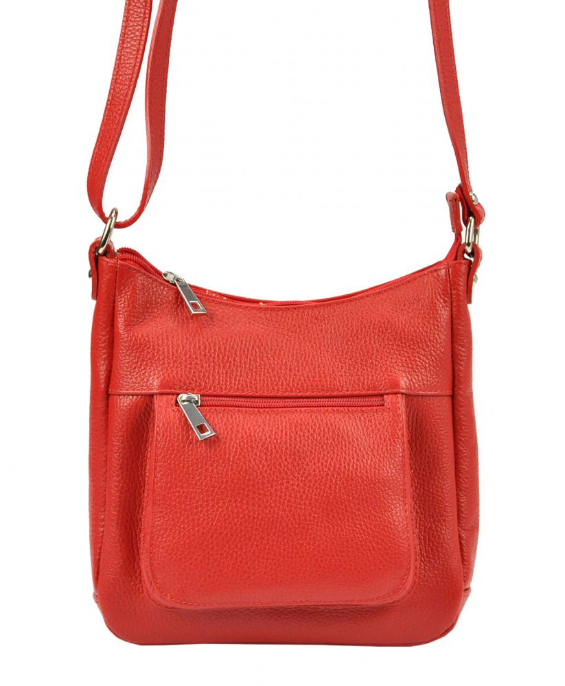 Kožená crossbody dámská kabelka Patrizia Piu červená