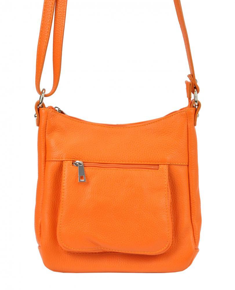 Kožená crossbody dámská kabelka Patrizia Piu oranžová
