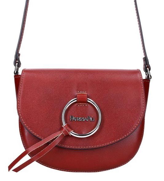 Kožená červená malá dámska crossbody kabelka Patrizia Piu
