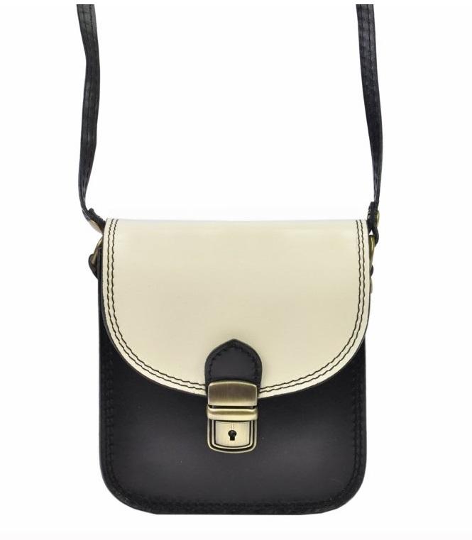 Kožená malá dámska crossbody kabelka čierno-biela