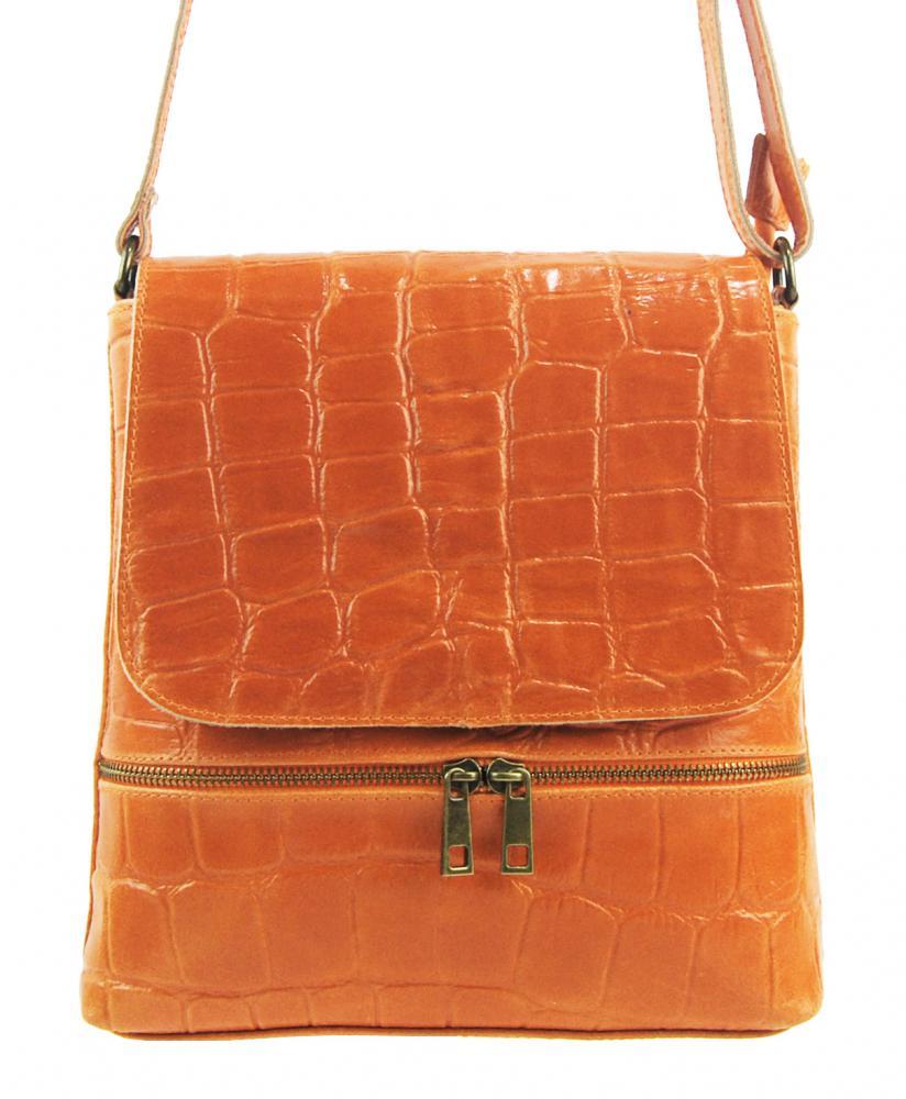 Kožená dámska crossbody kabelka v kroko dizajne oranžová
