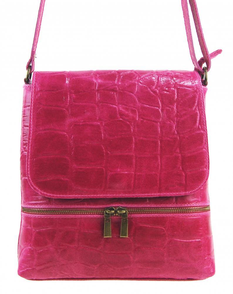 Kožená dámska crossbody kabelka v kroko dizajne fuchsiová ružová
