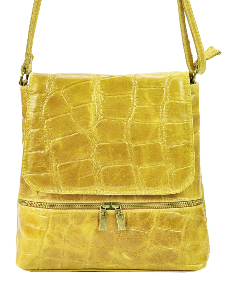 Kožená dámská crossbody kabelka v kroko designu žlutá