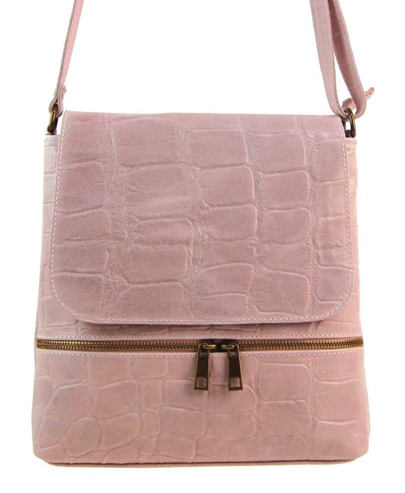 Kožená dámská crossbody kabelka v kroko designu růžová