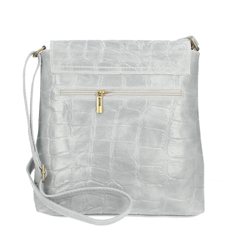 Kožená dámská crossbody kabelka v kroko designu světle šedá