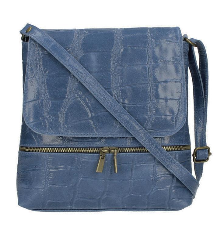 Kožená dámská crossbody kabelka v kroko designu džínově modrá